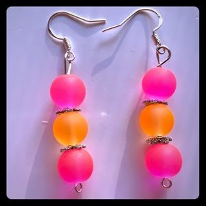 Jewelry - Handmade one-of-a-kind glass bead earring P1023